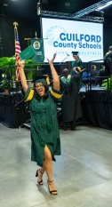 A graduate dances as she exits the stage during the 2019 commencement ceremonies for Smith High School at the Greensboro Coliseum Special Events Center in Greensboro, N.C., on Saturday, June 8, 2019.